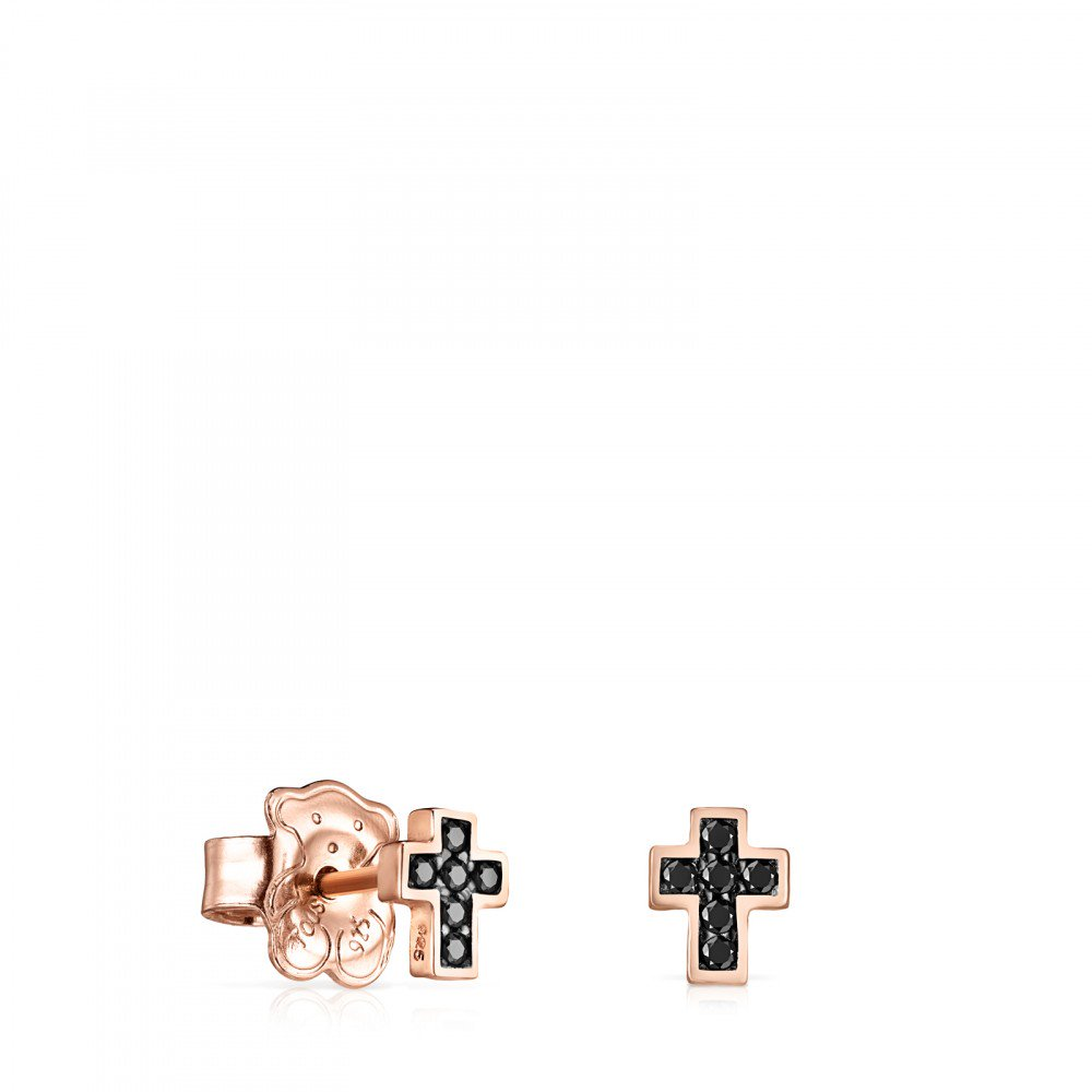 Rose Gold Vermeil Motif cross Earrings with Spinels-Default-Tous Canada