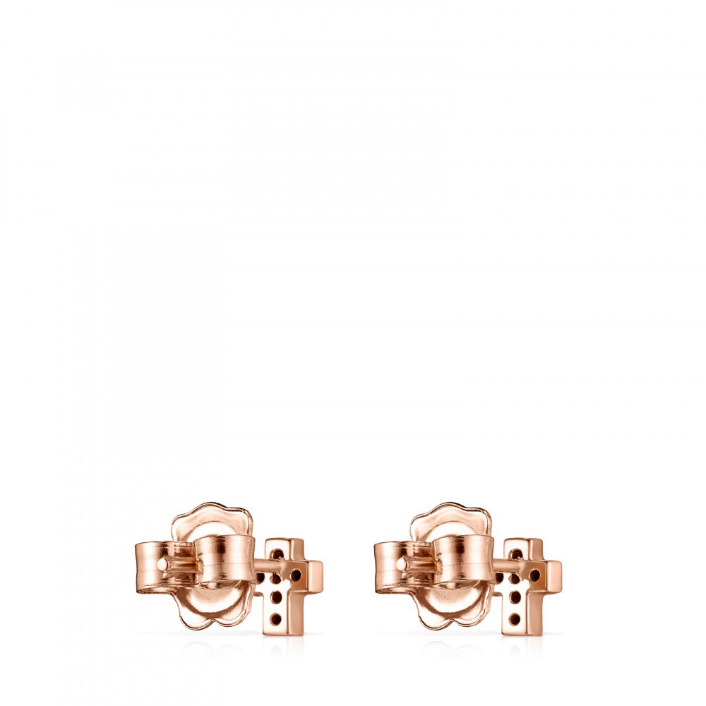 Rose Gold Vermeil Motif cross Earrings with Spinels