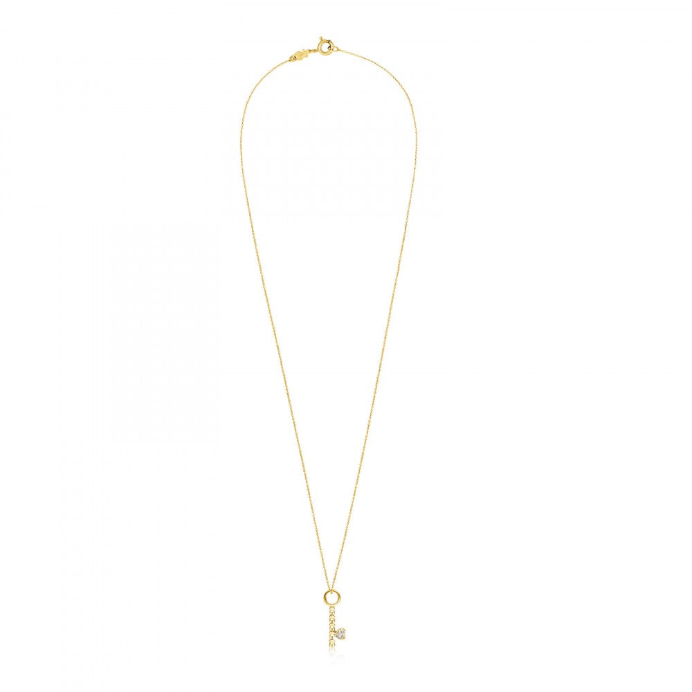 Gold San Valentín Key Necklace with Diamonds
