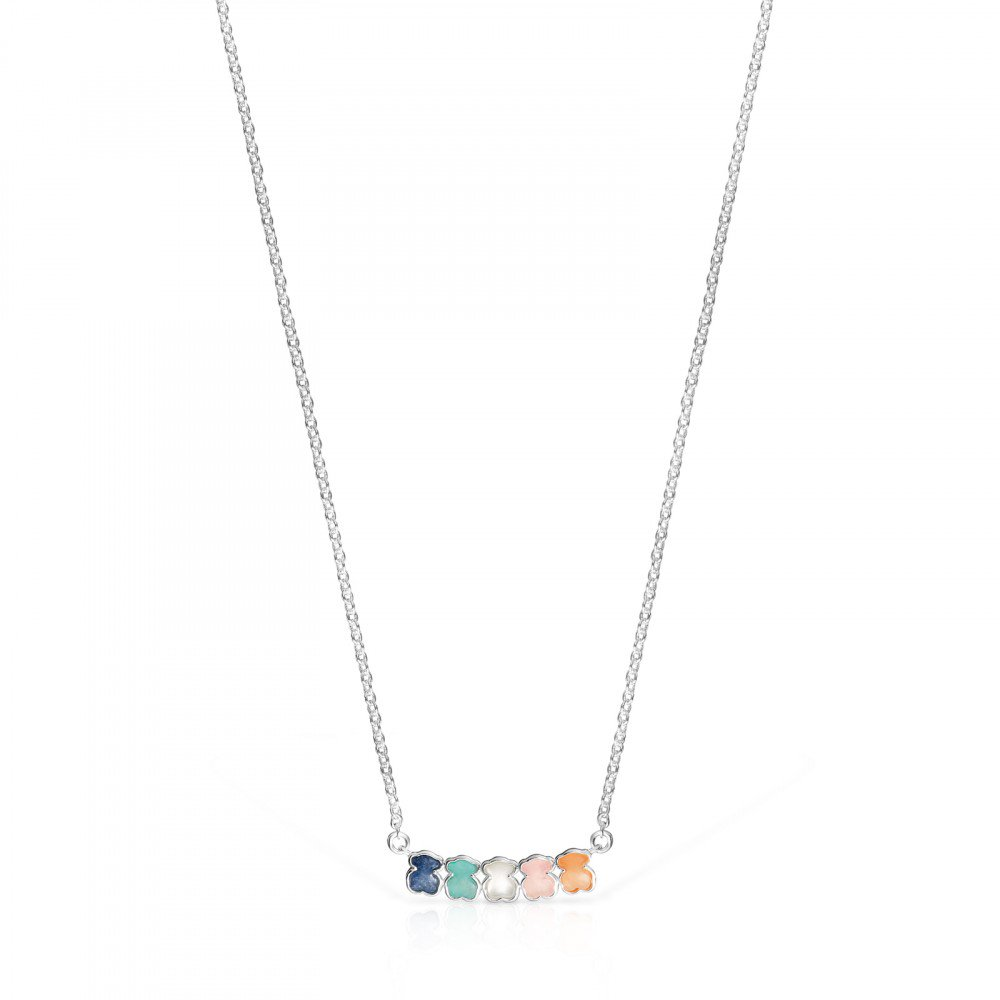 Mini Silver Color Necklace with Gems