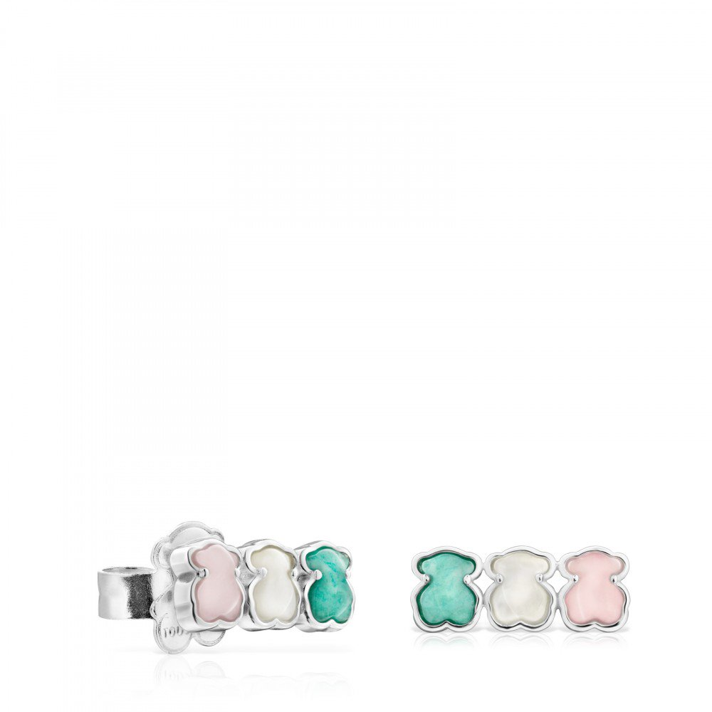 Mini Silver Color Earrings with Gems