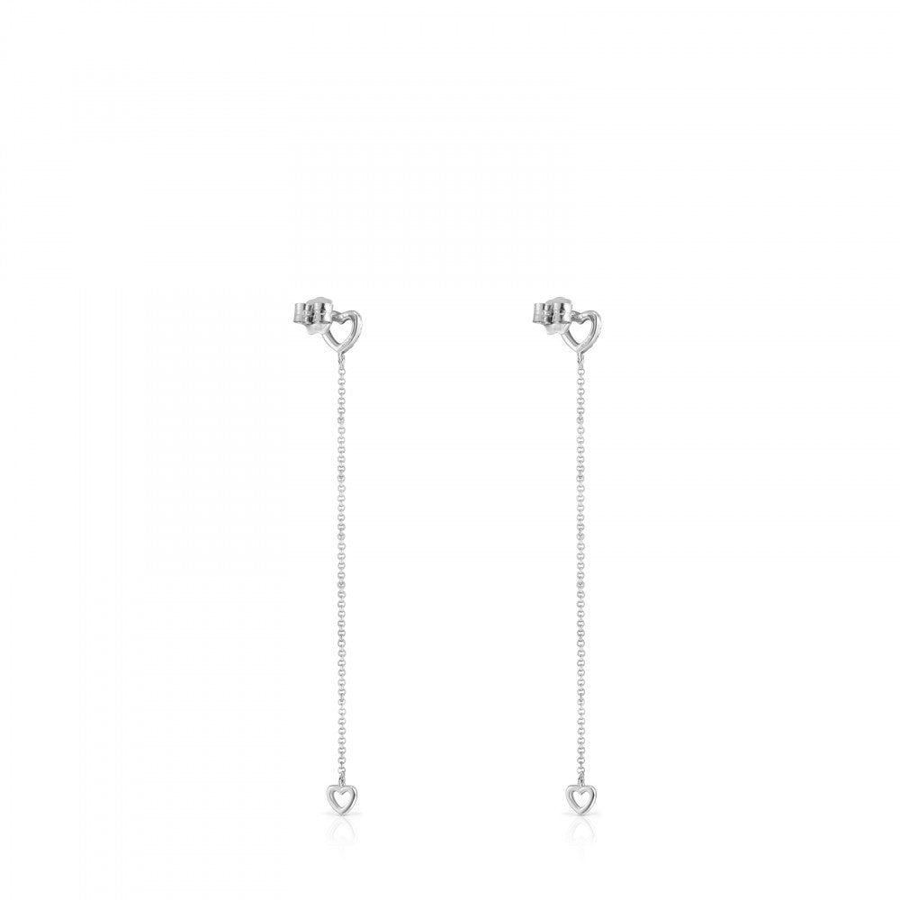 Long White Gold Les Classiques heart Earrings with Diamonds