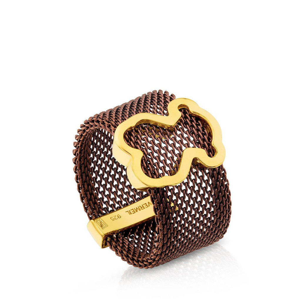 Vermeil Silver and Steel Icon Mesh Ring