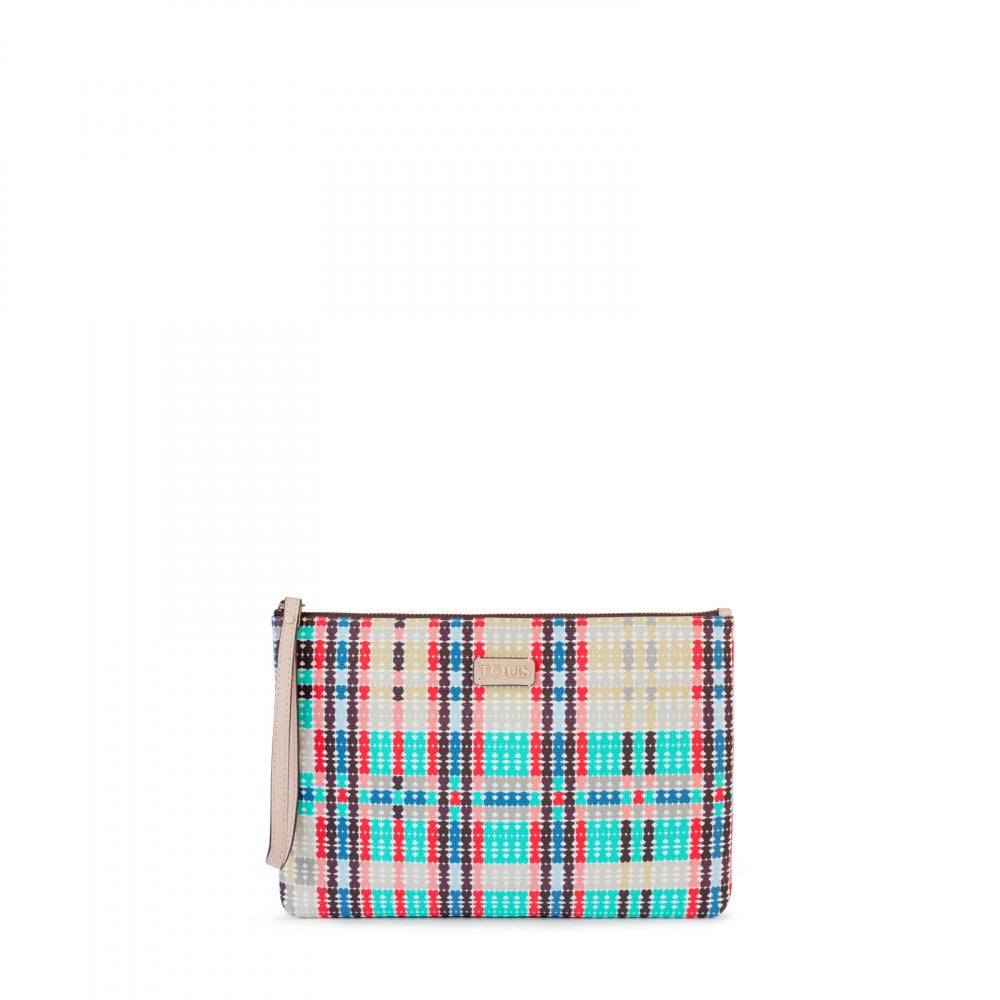 Pink-multicolored Tartan Bears Clutch bag