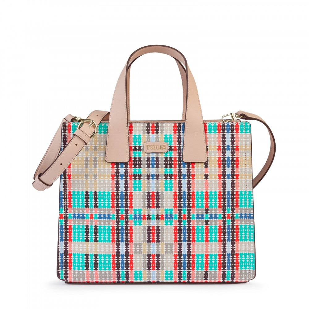 Pink-multicolored Tartan Bears City bag