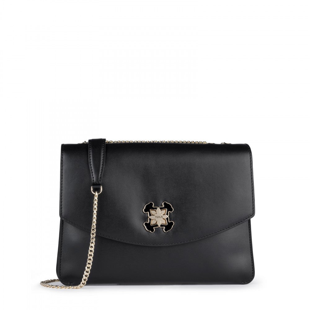 Medium Black Leather Liz Crossbody Bag