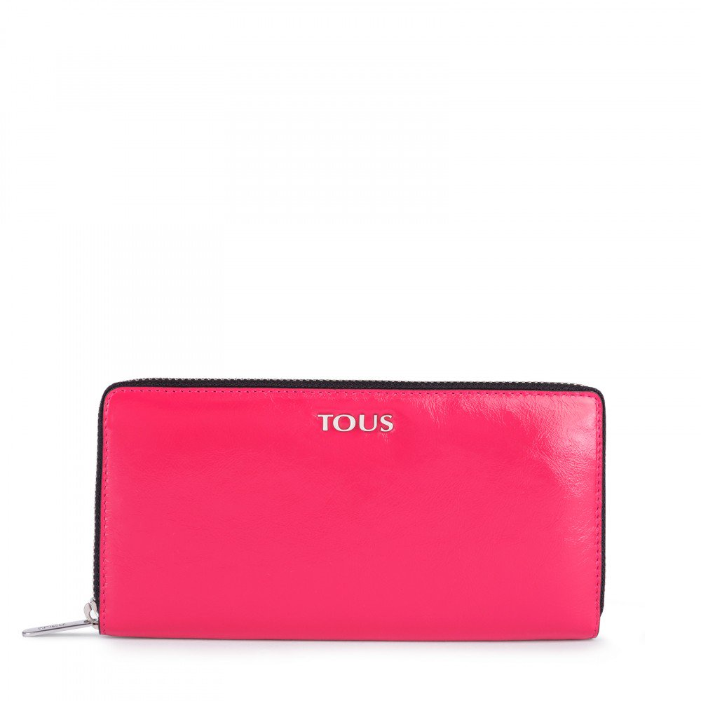 Medium fuchsia Leather Tulia Crack Wallet