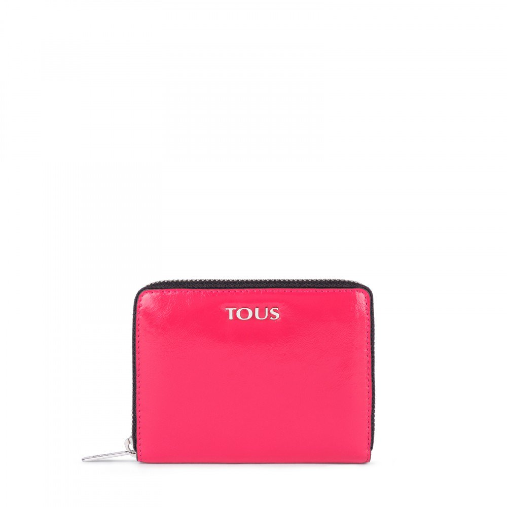 Small fuchsia Leather Tulia Crack Wallet