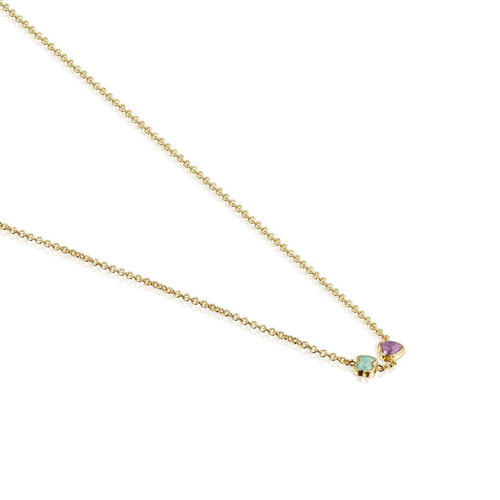 Glory Necklace in Vermeil Silver with Amazonite and Amethyst-Necklace-Tous Canada