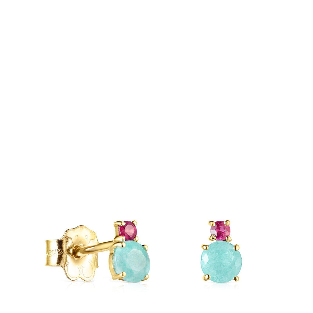 Mini Ivette Earrings in Gold with Amazonite and Ruby