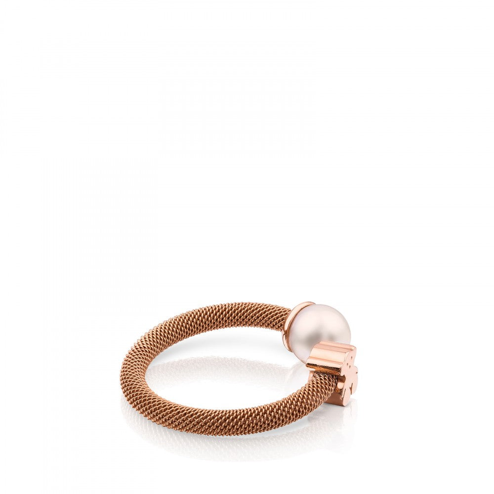 Steel and Rose Vermeil Silver Icon Mesh Ring with Pearl-Ring-Tous Canada