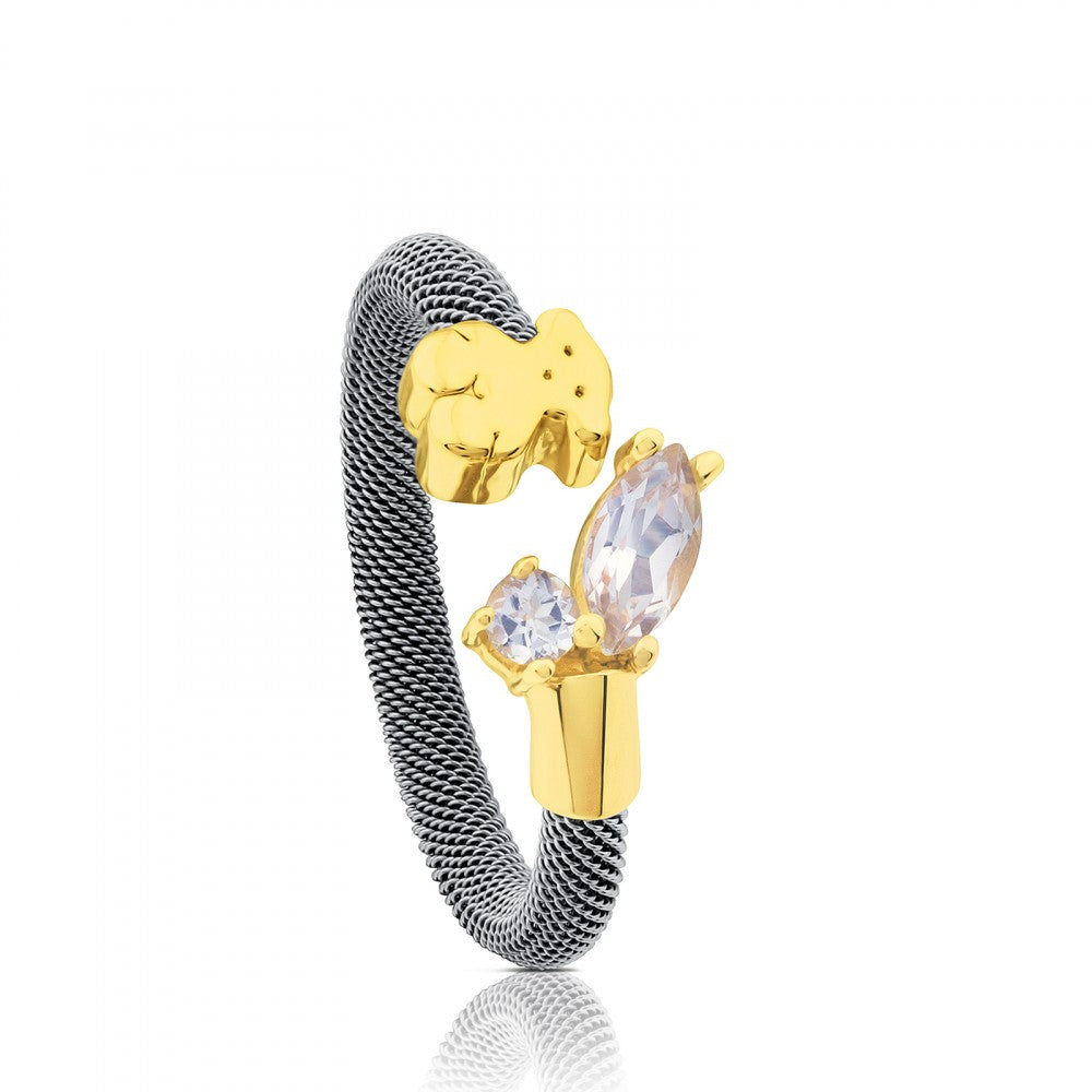 Steel and Gold with Topaz Eklat Ring