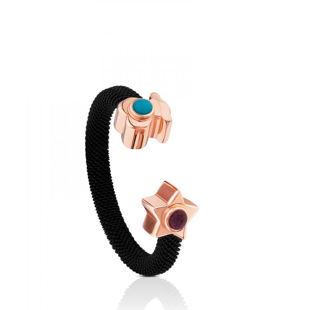 Steel and Rose Vermeil Silver Super Power Ring with Turquoise and Ruby