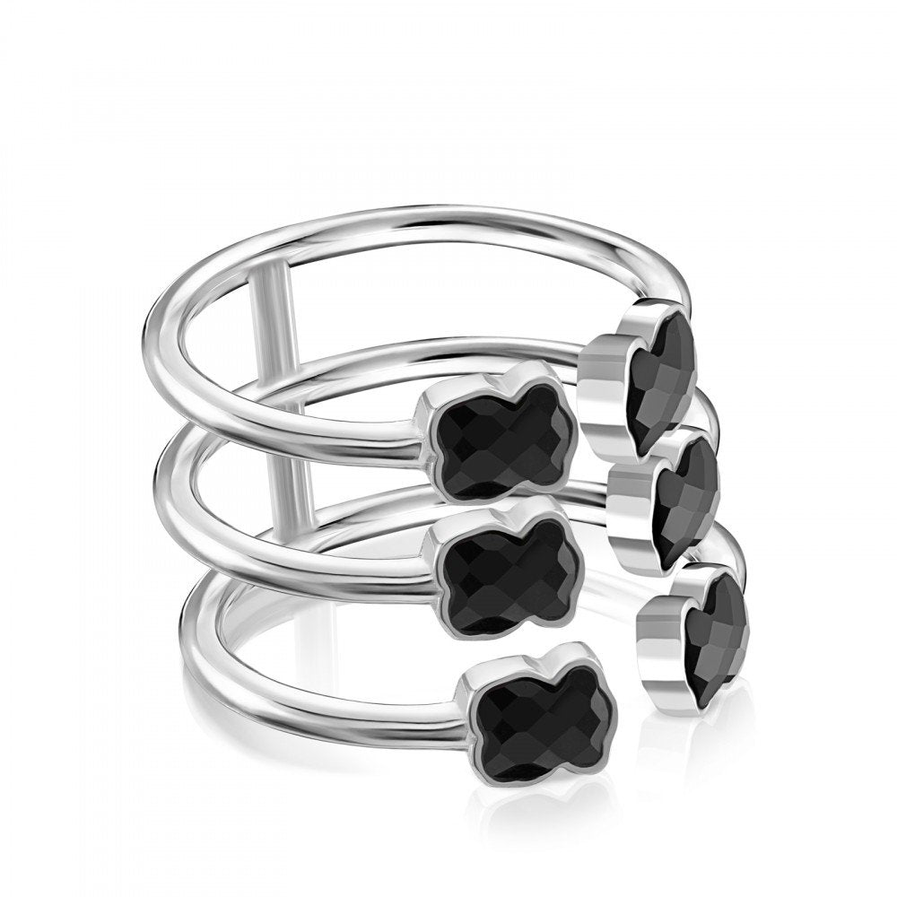 Mini Color triple Ring in Silver with Onyx