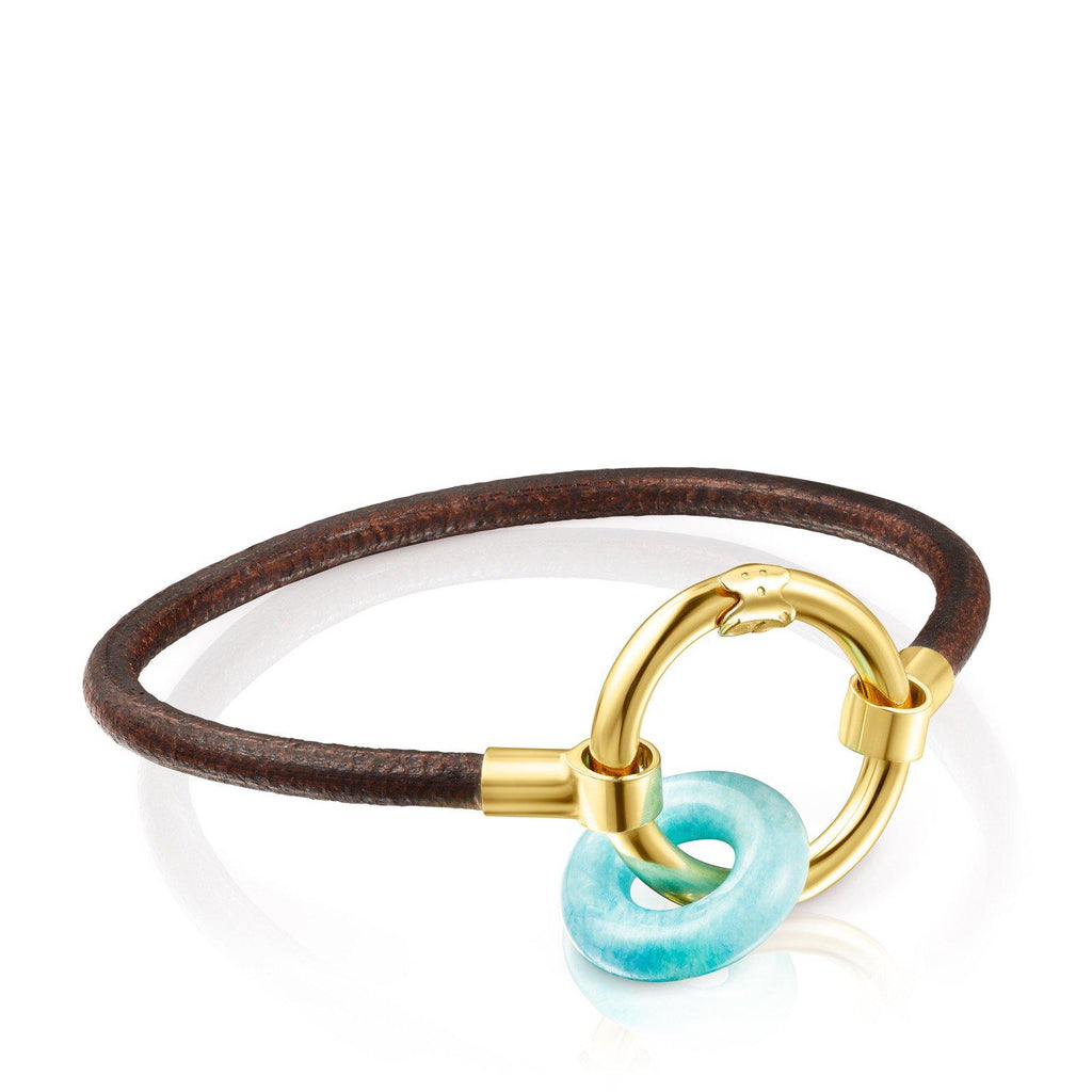 Hold Gems Gold Vermeil and Leather Bracelet with Amazonite