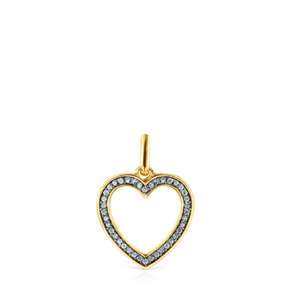 Nocturne heart Pendant in Gold Vermeil with Diamonds