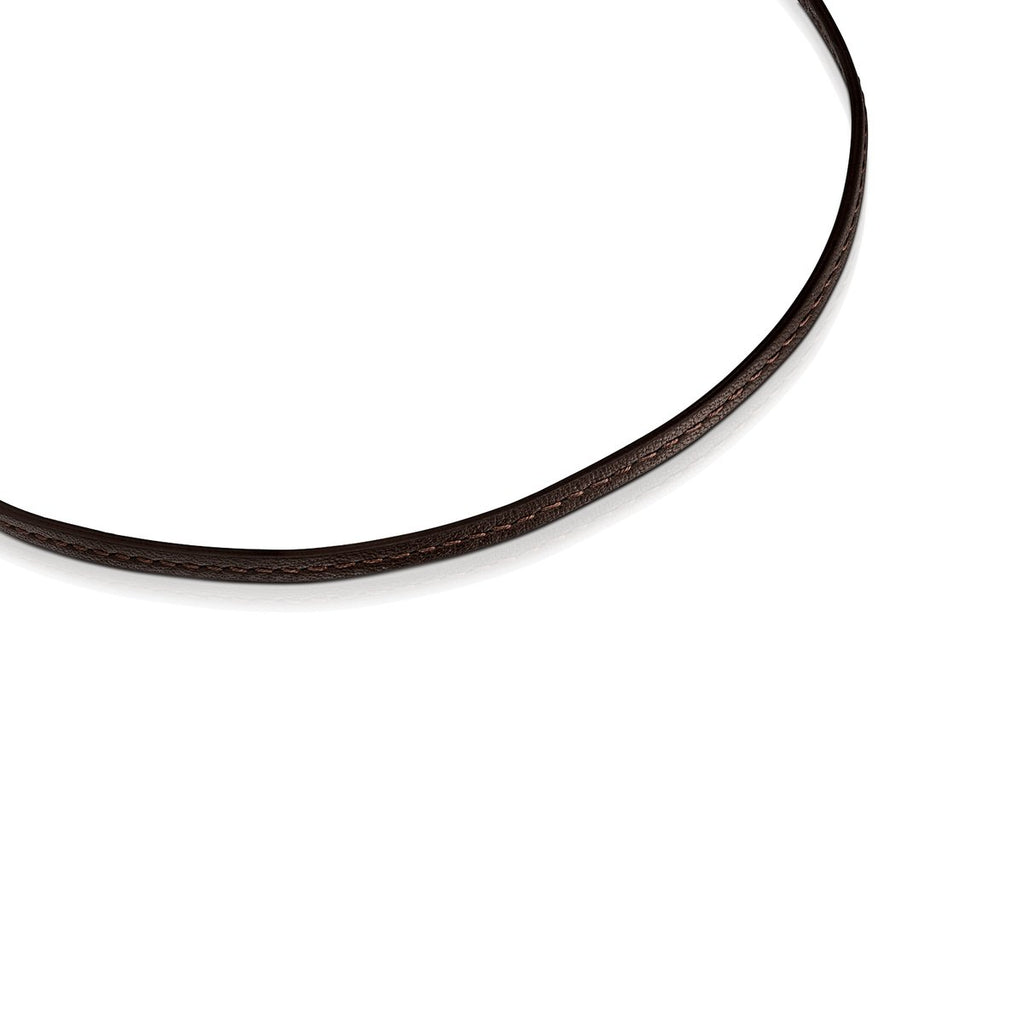 Hold Gold heart and brown Leather Necklace-Tous Canada
