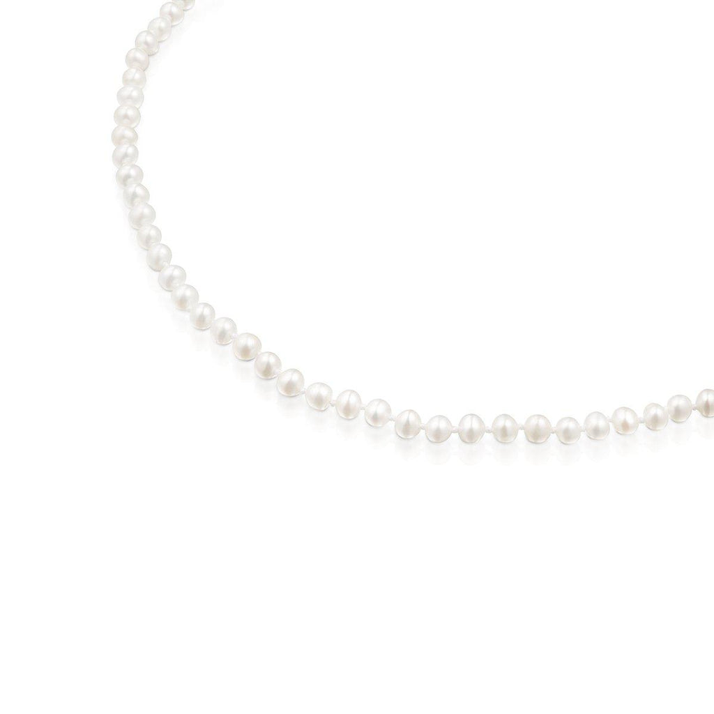 Silver Hold Choker with Pearls-Necklace-Tous Canada