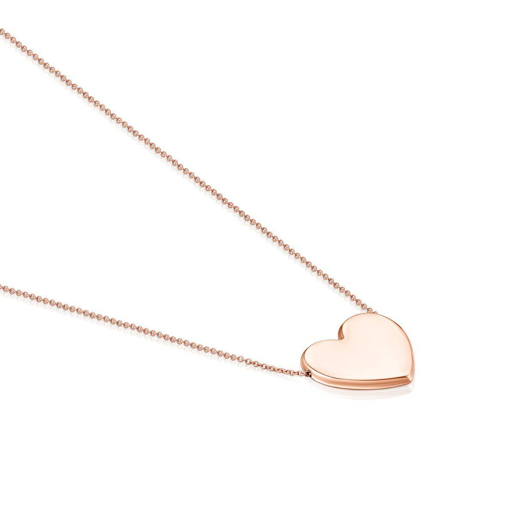 Rose Silver Vermeil Sweet Dolls Heart Necklace