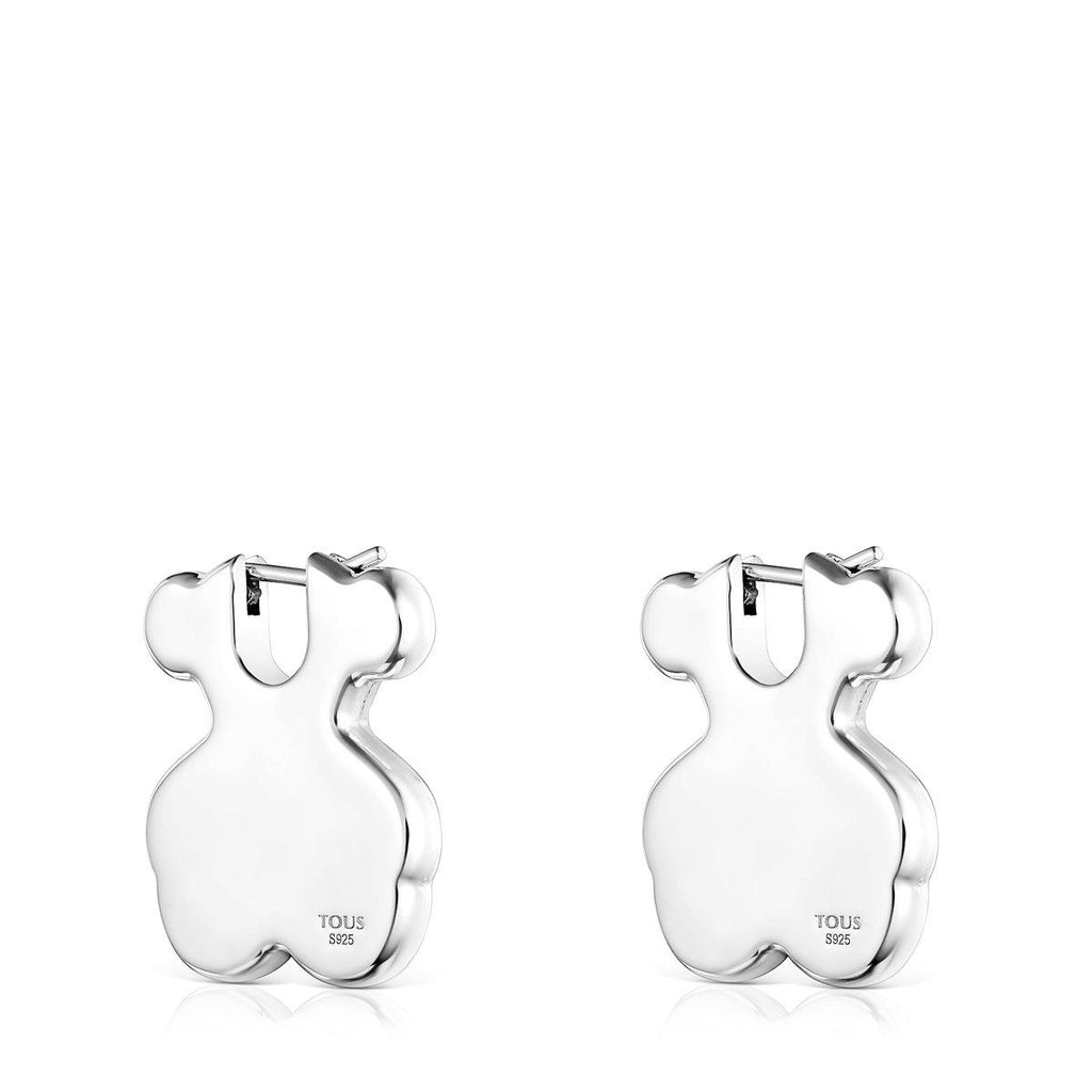 Short Silver Sweet Dolls Bear Earrings