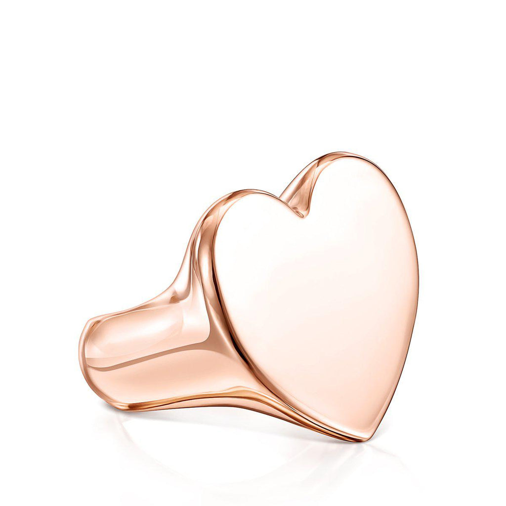 XL rose Silver Vermeil Sweet Dolls heart Ring