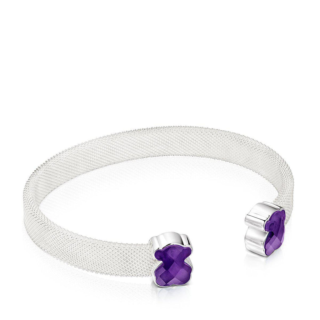 Silver Mesh Color Bracelet with Amethyst