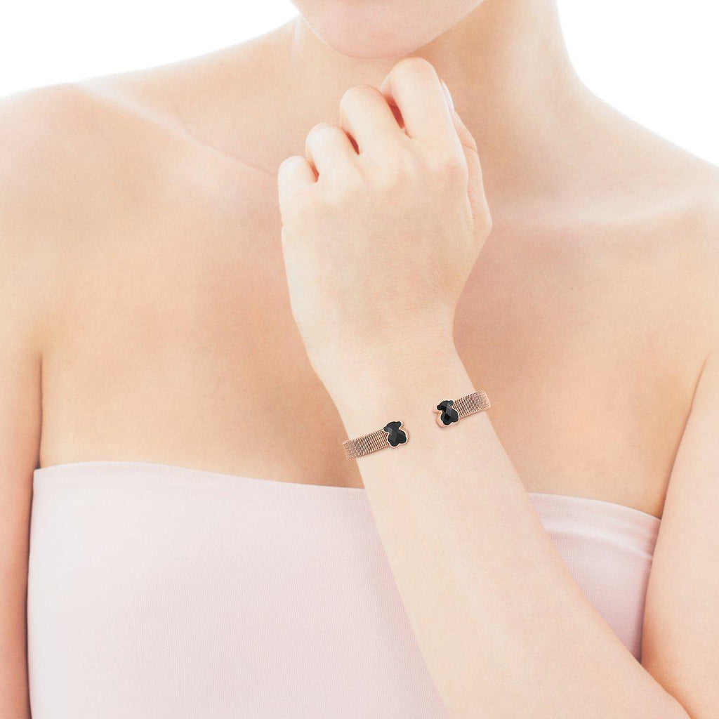Rose IP Steel Mesh Color Bracelet with Onyx-Bracelet-Tous Canada