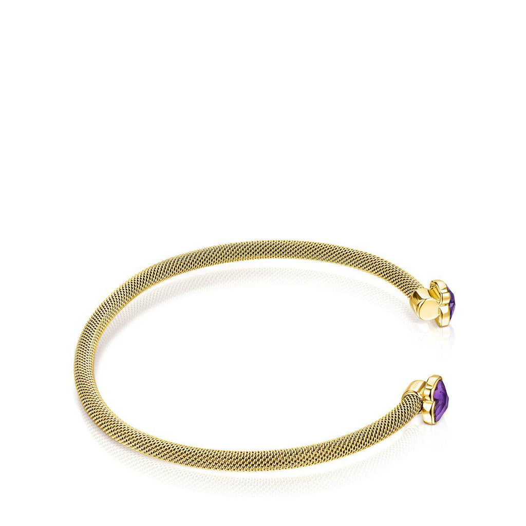 Fine gold-colored IP Steel Mesh Color Bracelet with Amethyst-Bracelet-Tous Canada
