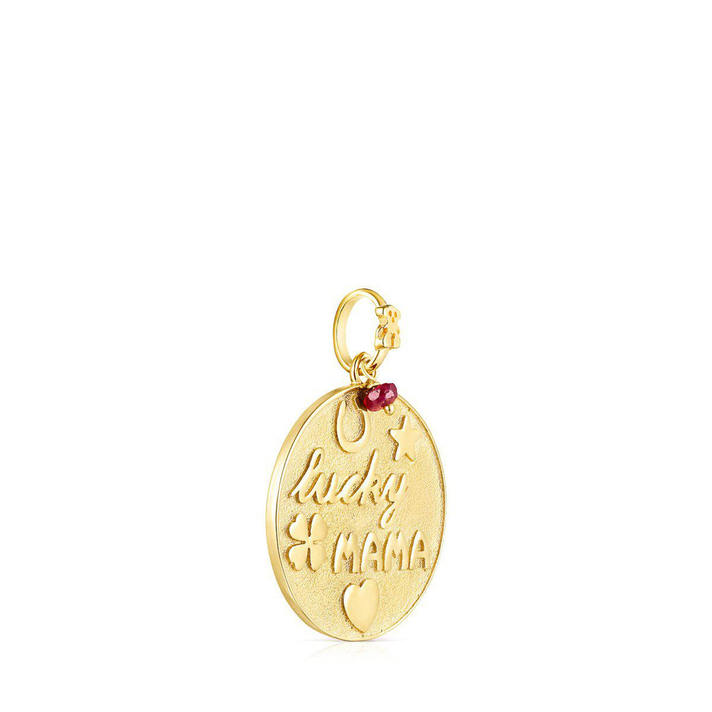 Silver Vermeil TOUS Good Vibes Mama Pendant with Ruby