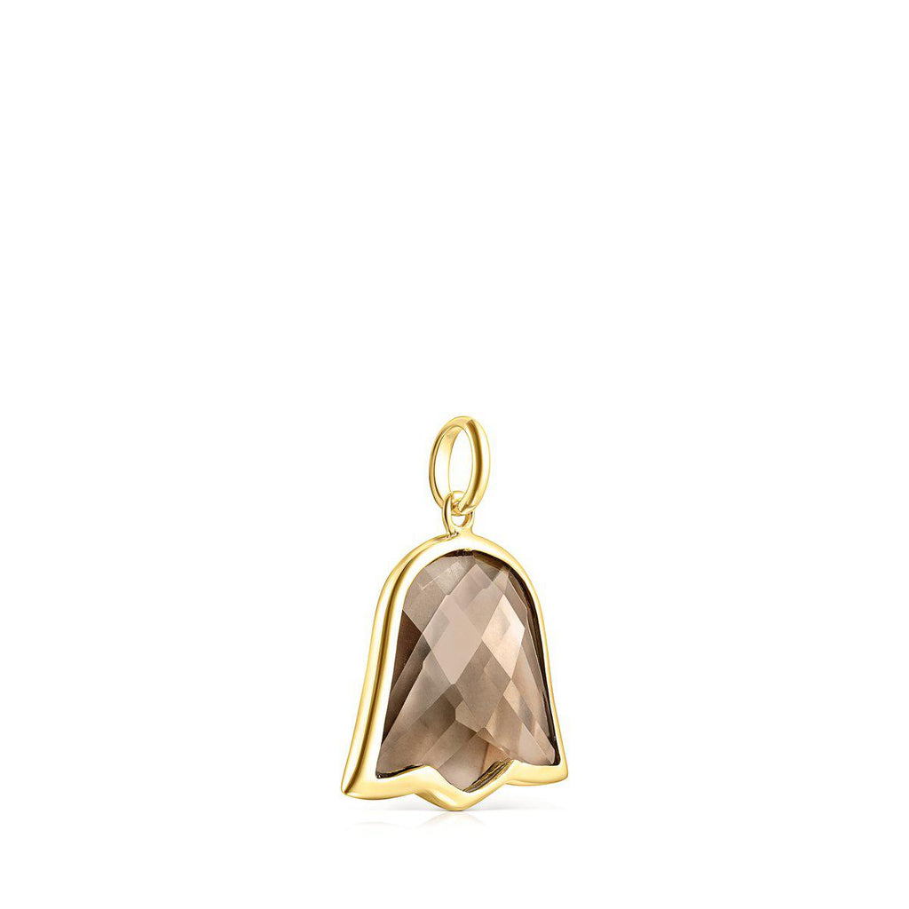 Silver Vermeil and smokey Quartz Sweet Dolls Color Pendant