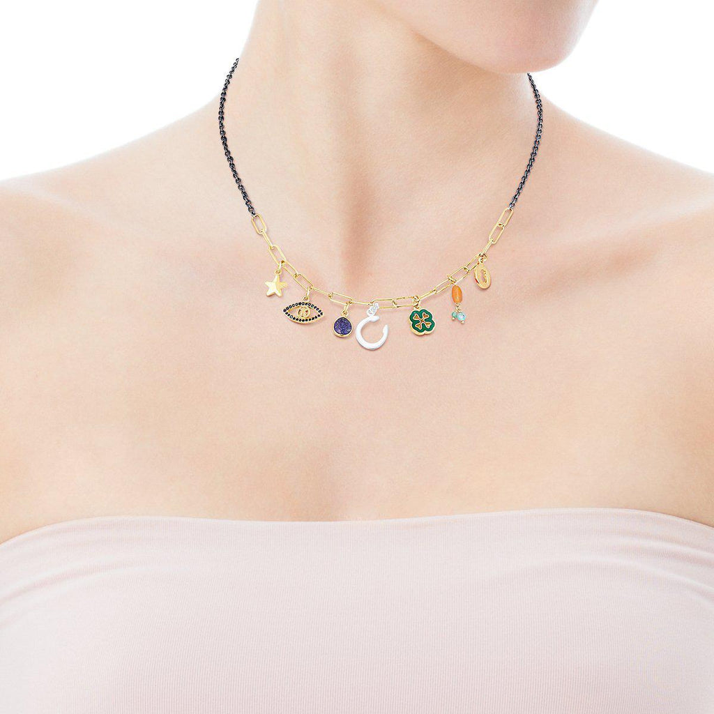 Silver Vermeil and Dark Silver TOUS Good Vibes Charms Necklace with Gemstones-Necklace-Tous Canada