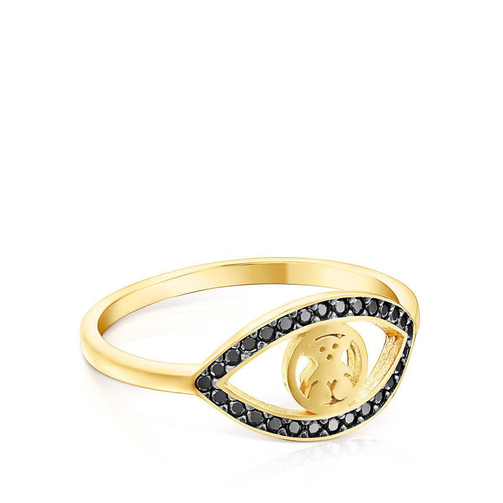 Silver Vermeil TOUS Good Vibes eye Ring with Spinels