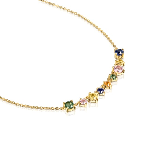 Silver Vermeil Glaring Necklace with multicolored Sapphires-Tous Canada