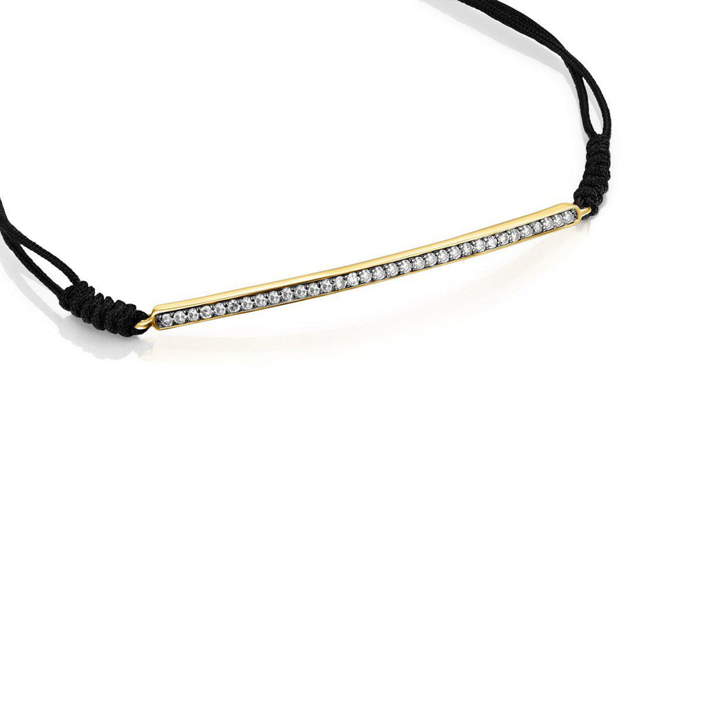 Nocturne Bar Bracelet in Gold Vermeil with Diamonds and Black Cord-Default-Tous Canada