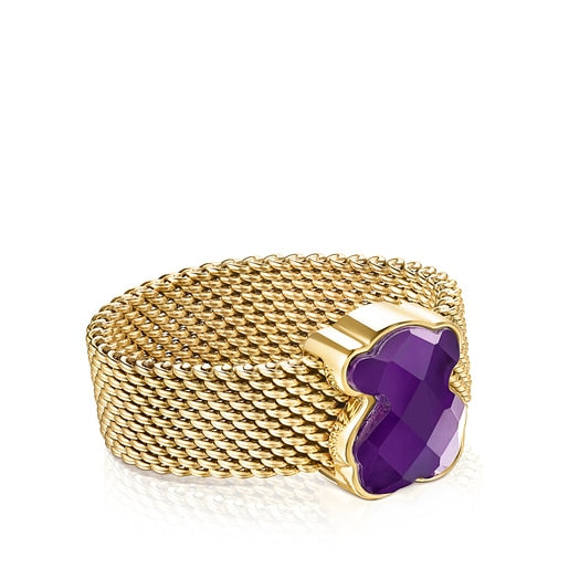 Gold-colored IP Steel Mesh Color Ring-Ring-Tous Canada