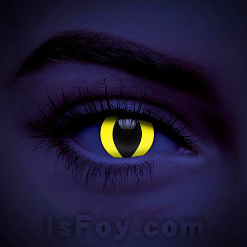 IsFoy® Soft Color Circle Lens YELLOW CAT UV I-GLOW COLORED CONTACT LENSES K8703