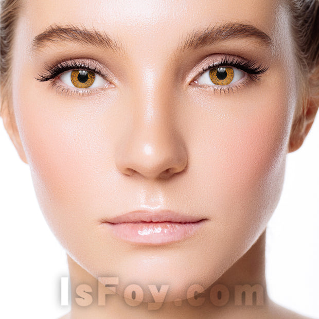 IsFoy® Soft Color Circle Lens BROWN HAZEL ONE TONE COLORED CONTACT LENSES K8669