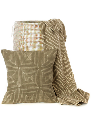 Grey Segou Organic Cotton Mudcloth Throw