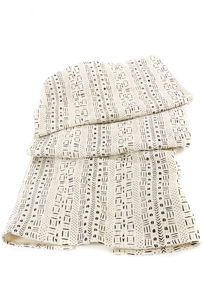 White Mudcloth Malian Throw Blanket