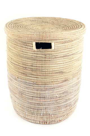 Flat Lidded Natural and Cream Basket