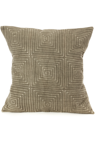 Grey Segou Squares Organic Cotton Pillow