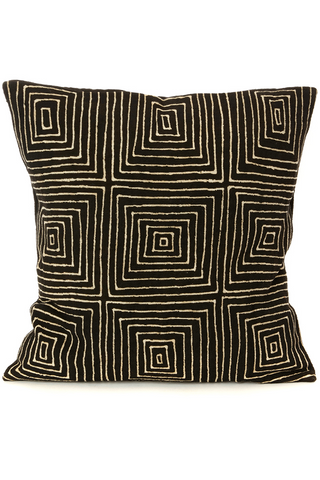Black Segou Squares Organic Cotton Pillow 20""