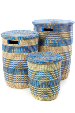 Set of 3 Blue Ebb & Flow Striped Hampers