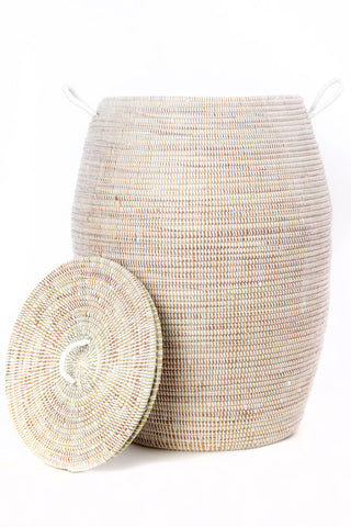 Senegalese Tall White Bongo Hamper Basket