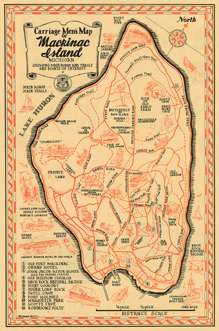 Mackinac Island Map Print