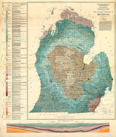 Geological Map of the Southern Peninsula of Michigan, 1936