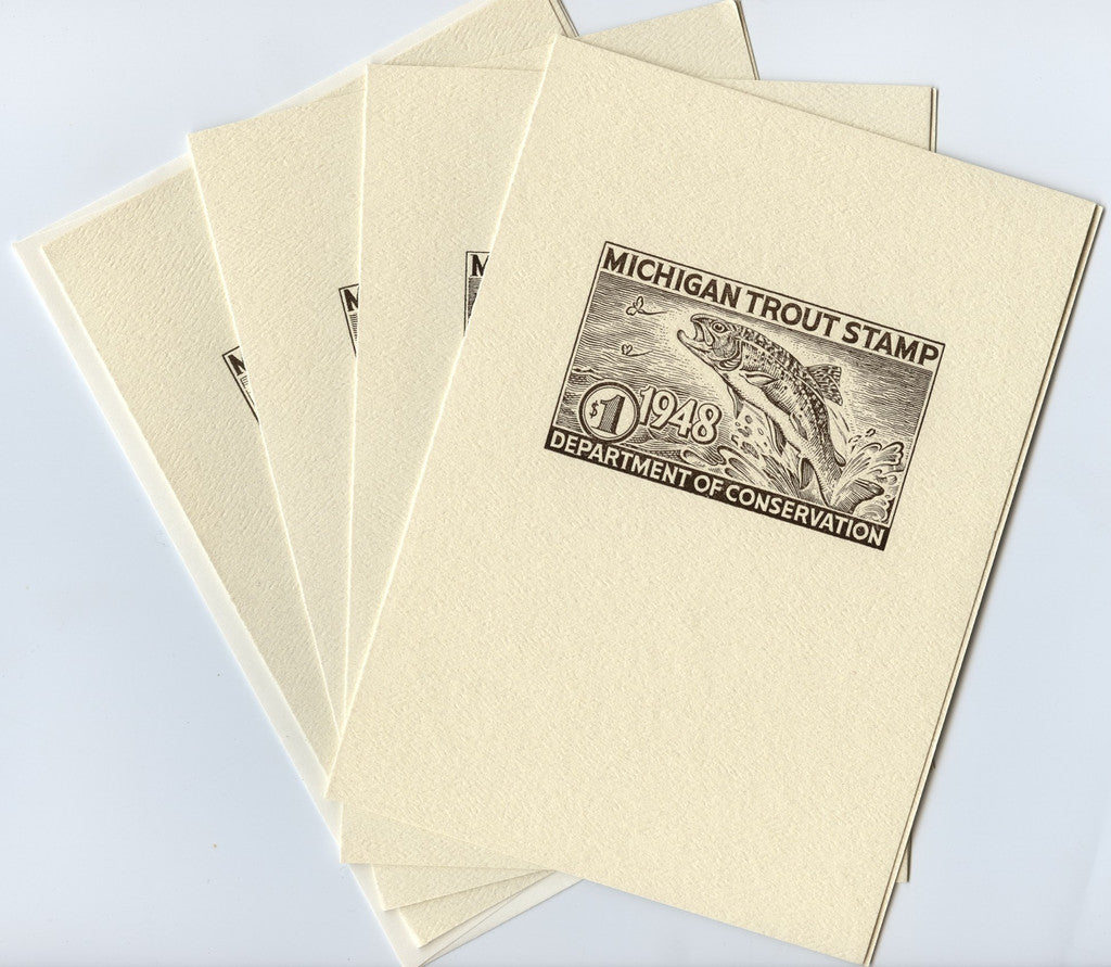4 Pack of Michigan Trout Stamp Note Cards