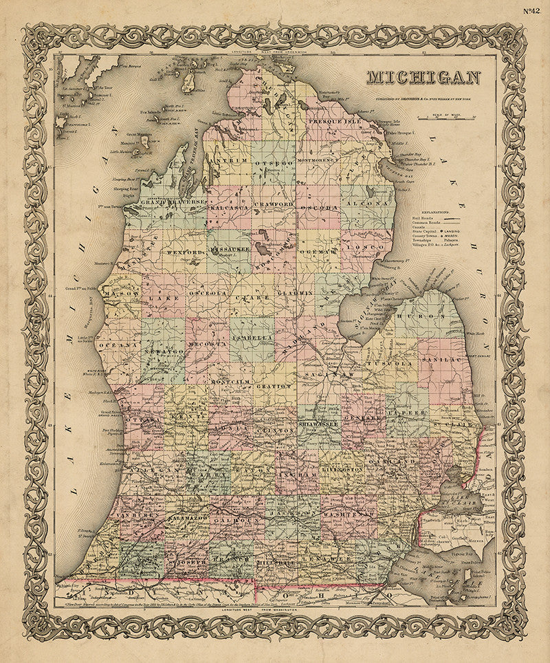 Map of Michigan 1855 Print
