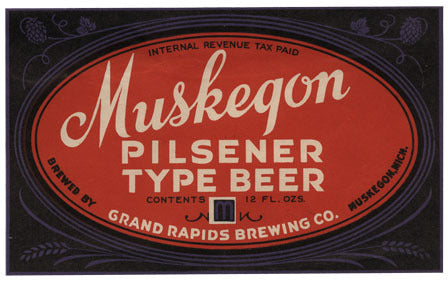 Muskegon Pilsnener Type Beer Label Print