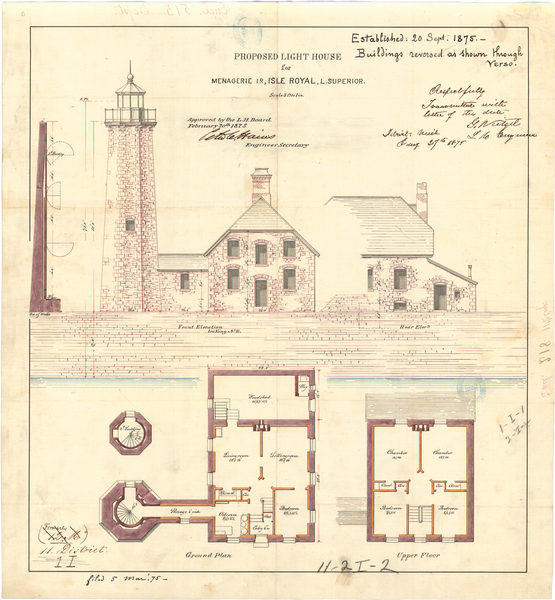 Isle Royal Lighthouse Architectural Drawing, 1875